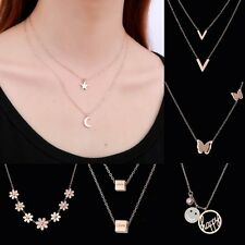 Stainless Steel Rose Gold Crystal Butterfly Flower Pendant Choker Necklace Gift