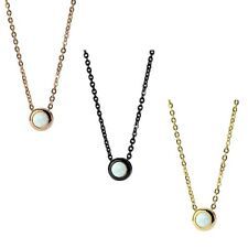 Necklace Stainless Steel 19 11/16in with Opal white Chain in gold,black/