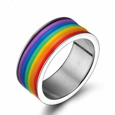 Charm Stainless Steel Rainbow Homosexual Ring Gay and Lesbian LGBT Pride Jewelry
