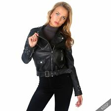 Women Ladies Soft Leather Retro Classic Studded Cropped Biker Jacket Belted Coat