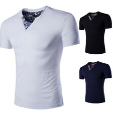 Fashion Men Summer Slim Fit Casual Short Sleeve Shirts T-shirt V-neck Tee Tops