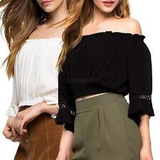 UK Lady Women Summer Cotton Blouse Off Shoulder Loose T Shirt Sexy Casual Tops