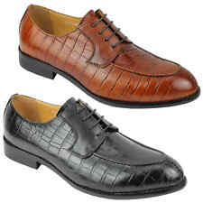 Mens Real Leather Crocodile Print Smart Formal Lace up Derby Shoes Black Brown