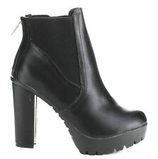 Black Tan Lug sole Bootie Ankle Boots Round toe Chunky Heels Women's shoes Hanna