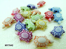 8x12mm 70/140pcs FROSTED ASSORTED COLORS ACRYLIC TURTLE PATTERN BEADS MY7042