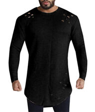 Mens Fashion Loose Fit V Neck Long Sleeve Muscle Tee Hole T-shirt Casual Tops