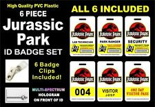 Jurassic Park (6 PIECE) ID Badge Set >>ALL 6 INCLUDED<<< PVC ID Cards - USA MADE