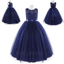 Kids Flower Girl Dress Lace Gowns Wedding Graduation Formal Party Prom Princess