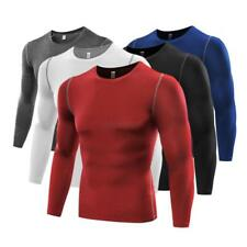 US Mens Compression Base Layer Tight Top Long Sleeve Running T Shirt Under Skin