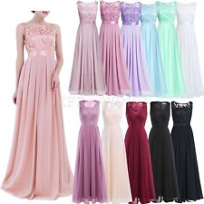 Long Womens Chiffon Formal Lace Evening Party Bridesmaid Wedding Prom Maxi Dress