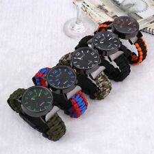 Multifuctional 5 Survival Paracord Watch Flint Compass Hiking Travel Outdoor