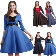 Women's Vintage Rockabilly Pinup Hepburn Swing Evening Party Swing Dress Belt
