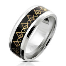 Finger Ring Stainless Steel Silver Freemason Black-Gold Size 9 / 10/11/12/13