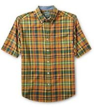 NWT WOOLRICH MENS  L TIMBERLINE PLAID SUMMER CAMP SHIRT S/S NEW - GOLDENROD NEW