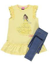 Girls Kids Official Disney Princess Belle Top & Leggings Outfit Set