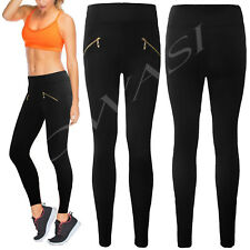 Ladies Womens Skinny Full length High Waist Elasticated Biker Zip legging sexy