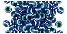 Lucky Cobalt BLUE, White + Black EVIL EYE Round BEADS ~ Sturdy Plastic RESIN