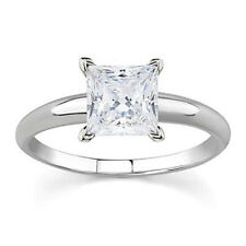 AGS Certified 1 Carat Princess Diamond Solitaire Ring in 14K White Gold