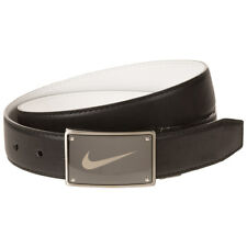 Men's Nike Black & White Reversible Swoosh Plaque-Buckle Golf Belt
