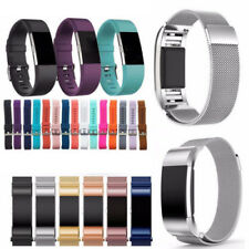 Replacement Silicone & Milanese Stainless Steel band Strap For Fitbit Charge 2