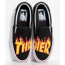 NEW! Vans x Thrasher Slip-On Black Skate Shoes Mens Womens Black Flames Fire