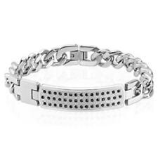Silver Bracelet Stainless Steel Paved ID Plate Zirconia Length mm: 200 O 210