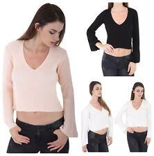 WOMENS KNITTED CROP V NECK LADIES BASIC RIBBED BELL LONG SLEEVE  JUMPER TOP