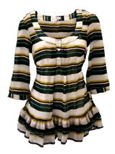 Striped Chiffon Blouse Top in Blue Green and White with Under Top Ladies NEW