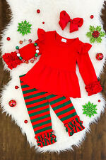 Boutique Kids Girls 2Pc Christmas Ruffle Stripe Outfit Clothes Top+Leggings Set