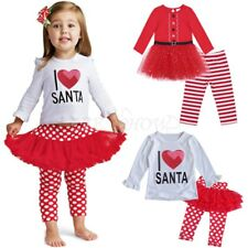 Baby Kids Girl Top Dress Christmas I Love Santa Outfit Tutu Skirt Leggings Party