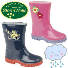 "Stormwells ""Puddle"" Kids Wellington Boots Girls Boys Youths Wellie Boots Digger"