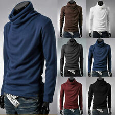 Fashion Men Slim Cotton Long Sleeve Turtle Polo Neck T-shirts Stretch Shirt Top