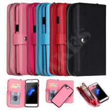 Luxury Leather Zipper Detachable Wristlet Wallet Case Cover For iPhone Samsung