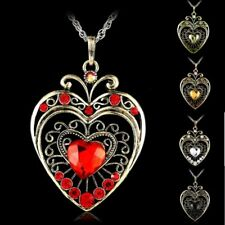 Fashion Crystal Rhinestone Heart Charm Pendant Necklace Women Jewelry Gift New