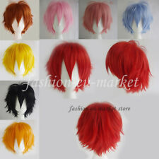 Short Wigs Cosplay Wig Hair Halloween Costume Party Full Wigs Pink Yellow Black