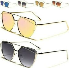 NEW SUNGLASSES LADIES WOMEN DESIGNER LARGE FLAT MIRROR CAT EYE BIG AVIATOR METAL
