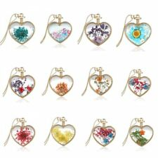 Elegant Gold Natural Real Dried Flower Heart Glass Pendant Necklace Jewelry Gift