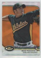 2012 Topps Finest Orange Refractor 51 Brad Peacock Oakland Athletics Rookie Card