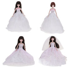 Fashion Princess Dress Wedding Clothes Gown + Hat/Veil for Barbie Dolls Gift