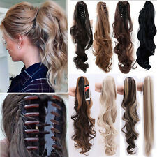Women Claw On Ponytail Clip In Natural Hair Extensions Brown Blonde As Human AP8
