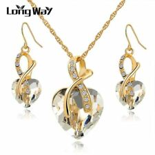 LongWay Austrian Crystal Necklace Earrings Set Gold Color Heart Crystal Jewelry