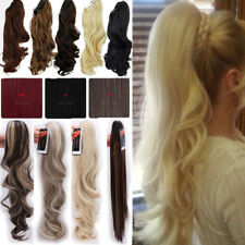 US Thick Clip In Ponytail Hair Extensions Straight Curly Claw Pony Tail Long P5m