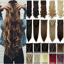 US Remy Extra Thick Clip in Full Head  Hair Extensions 8Pcs Long As Human Tape A