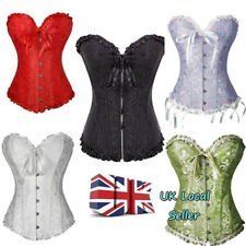 UK Lace Up Boned Bustier Basques Corset Brocade Lingerie Free G-string Plus Size