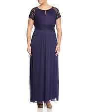 Adrianna Papell Plus Size Lace Cap-Sleeve Ruched Gown Indigo Blue NWT