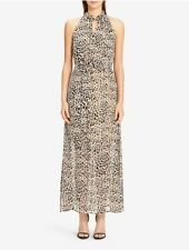 calvin klein womens belted printed maxi dress