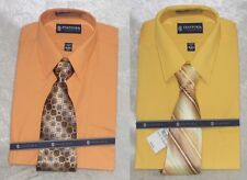 Stafford Mens Dress Shirt Tie Set Classic Fit Broadcloth Solid size S M NEW