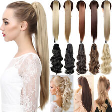 Long Ponytail Clip in Pony tail Hair Extensions Claw On Straight Wavy Fiber R71