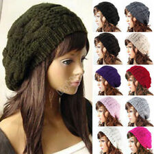 Women Beret Braided Baggy Knitted Crochet Beanie Hat Ski Cap Winter Warm Cap un