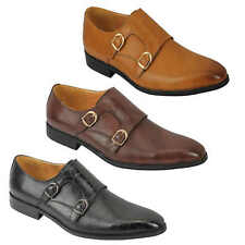 Mens Black Brown Leather Classic Double Monk Strap Retro Slip on Loafer Shoes